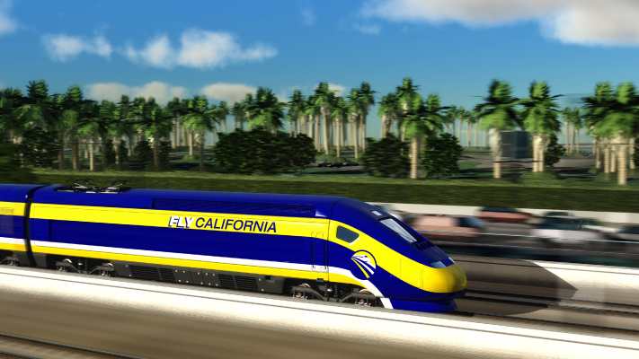 <p>Conceptual view of High-Speed Train traveling along Mission Bay near San Diego.</p>