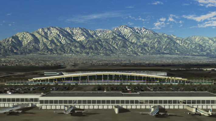 <p>Conceptual still demonstrating how a High-Speed Train station could fit in with other modes of transportation at the Ontario airport.</p>