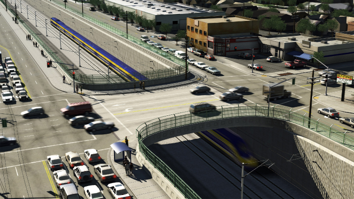<p>This conceptual view demonstrates a possible configuration for High-Speed Train to pass through a Burbank, CA intersection.</p>