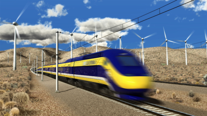 <p>Conceptual view of High-Speed Train crossing over the Tehachapi Pass.</p>