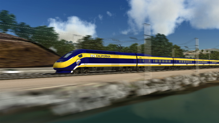 <p>Conceptual view of High-Speed Train traveling along the bay, just south of San Francisco.</p>