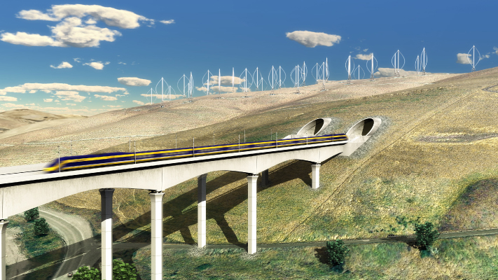 <p>Conceptual view of High-Speed Train over the Altamont Pass west of Tracy, CA.</p>