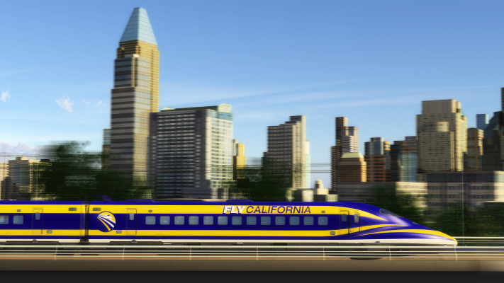 <p>A view of High-Speed Train with the Sacramento skyline in the background.</p>