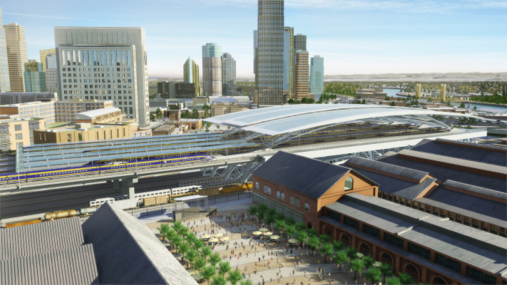 <p>Conceptual view demonstrating how a High-Speed Train station would fit in with other planned development in downtown Sacramento.</p>