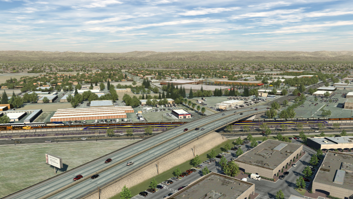 <p>Visualization showing an option for grade separation at Shaw Avenue in Fresno, California.</p>
