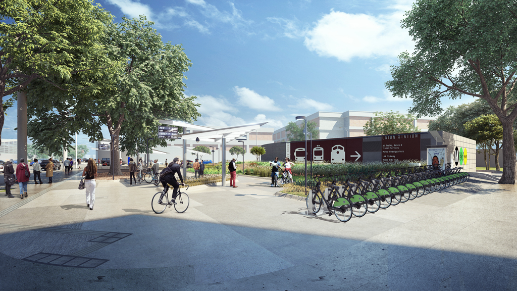 The new transit pavilion will provide innovative shade structures equipped with solar panels to power the site, as well as a bike share kiosk.