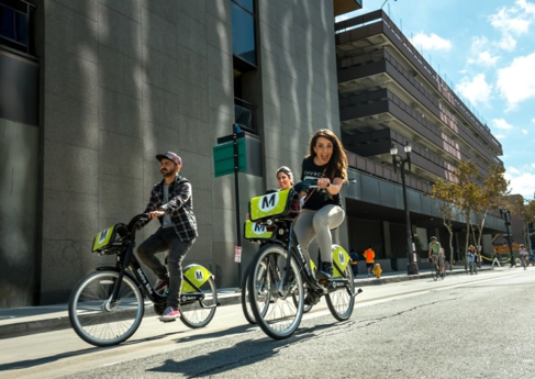 People riding bikes, Bike Share