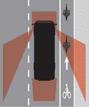 drawing of bus blind spots