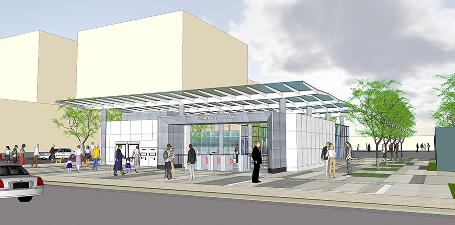Aerial rendering of the future Regional Connector station at 2nd and Broadway