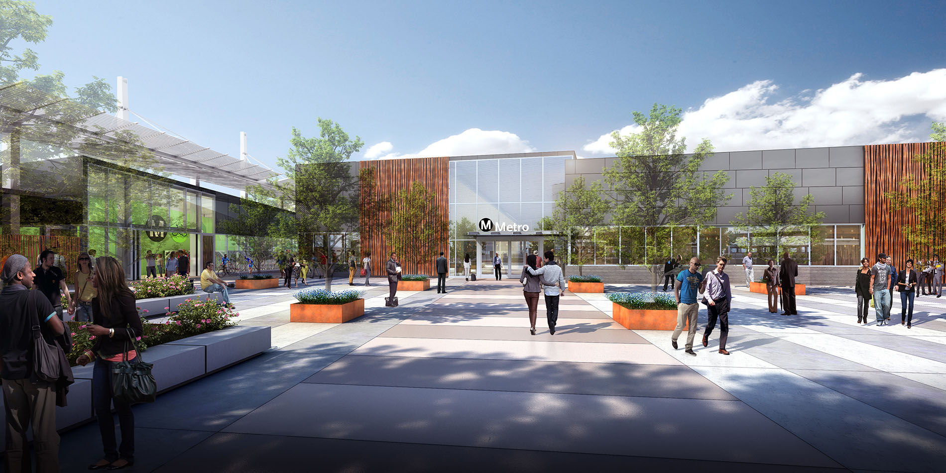 A Plaza for the Community: The new plaza will house a new Metro Bike Hub and Customer Service/Transit Security Center. The design will welcome community events year round.