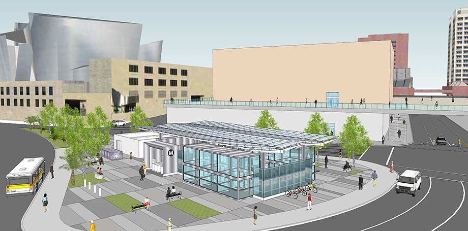 Aerial rendering of the future Regional Connector station at 2nd and Hope