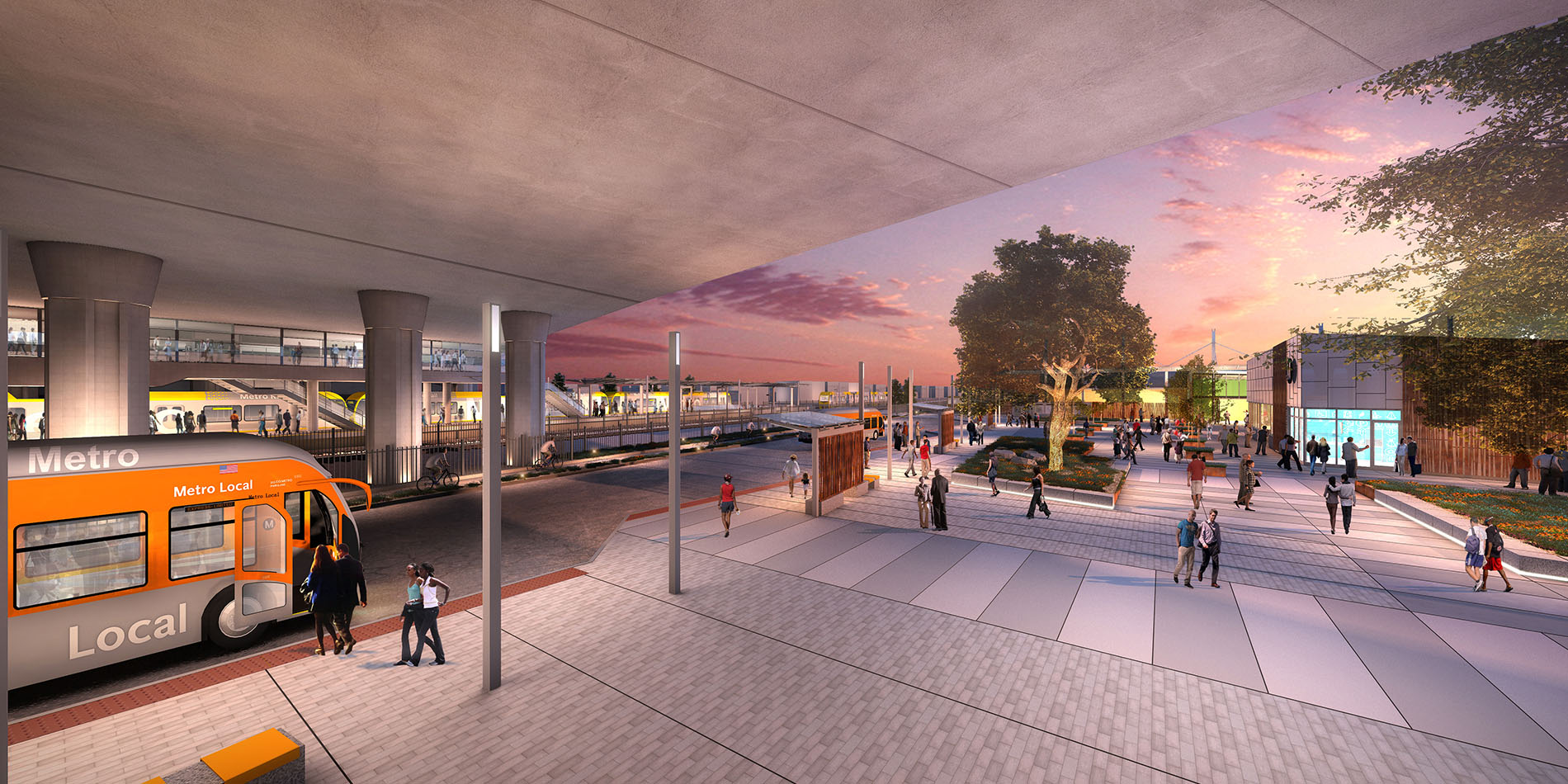 Safe and Seamless Transfers: Bus bays will be consolidated next to the plaza to improve pedestrian connections. A spacious mezzanine will make transferring between Metro Rail lines easier.