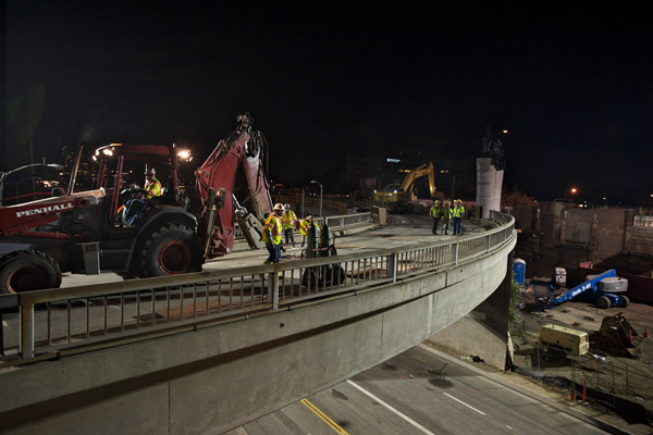Looking southwest, this photo captures the northbound off-ramp to westbound Wilshire.