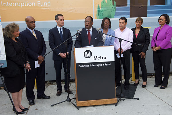 Metro Board Member and L.A. County Supervisor Mark Ridley-Thomas speaks at the Business Interruption Fund Launch event on April 6, 2015.