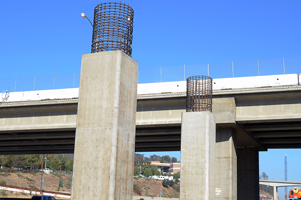 Looking northwest, this photo captures the columns along the east side of the I-405.