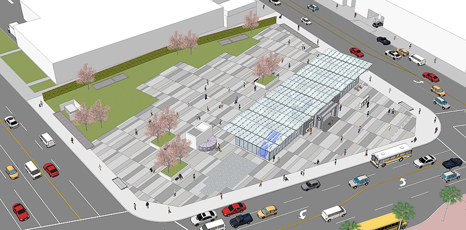 Aerial rendering of the future Regional Connector station at 1st and Central