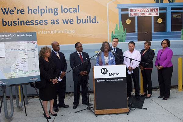 Metro Board Member Jacquelyn Dupont-Walker speaks at the Business Interruption Fund Launch event on April 6, 2015.