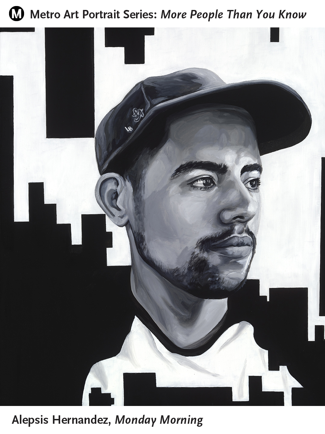 <p>Monday Morning, is a portrait of Caesar - CSULB student, full-time social worker and good friend of the artist, Alepsis Hernandez. The painting frames the portrait with geometric shapes to mimic the urban landscape between the cities of Los Angeles and Long Beach.</p>