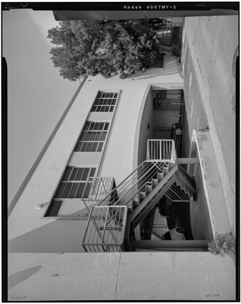 <p>Rear archway over parking area with rear entry stairs. Camera height 5&prime;, facing northeast.</p>