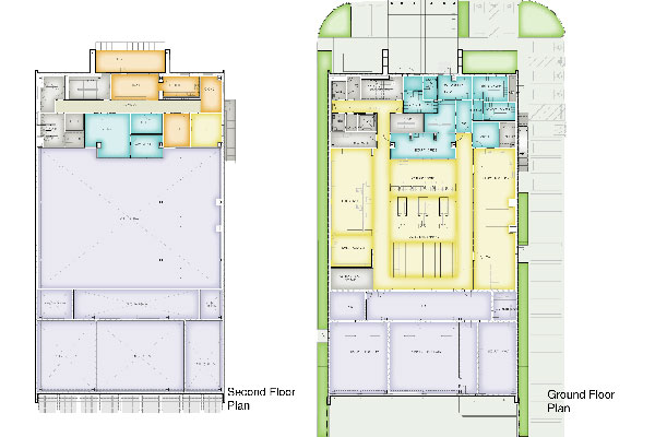 Ground level and second floor plans of Central Cash Counting Facility.