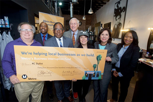 Owner Glenn Koach, Metro Board Member and L.A. County Supervisor Mark Ridley-Thomas, Metro CEO Phil Washington, Metro Board Member and L.A. County Supervisor Michael Antonovich, owner Yuko Koach, Metr