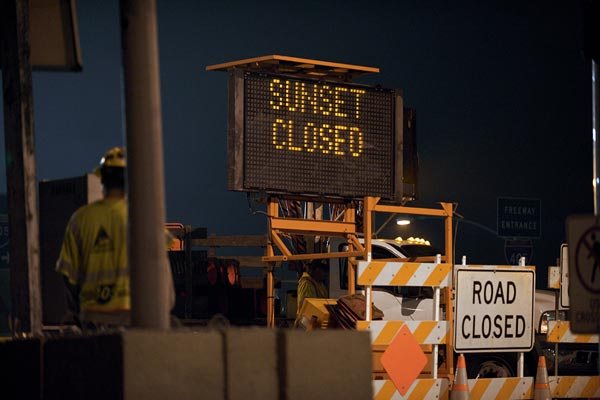 Sunset Bl had to be closed in both directions before demolition could begin.