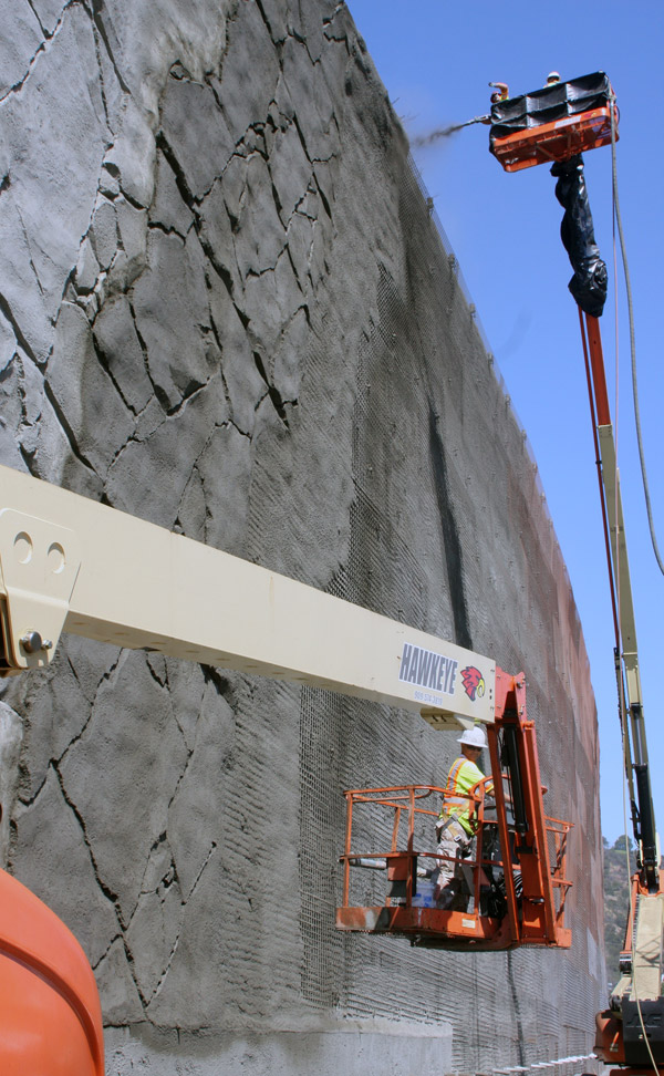 Wall 1827 continues to grow at the southbound Getty   Center Drive on-ramp. The completed wall will be 55 feet tall at its highest point and 500 feet long, making it the second largest wall the projec