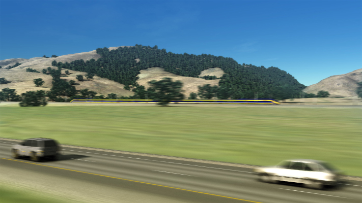 <p>Conceptual view of High-Speed Train over the Pacheco Pass near Gilroy, CA.</p>
