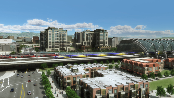<p>This conceptual animation shows a High-Speed Train station in San Jose and the potential transit oriented development that it could bring.</p>