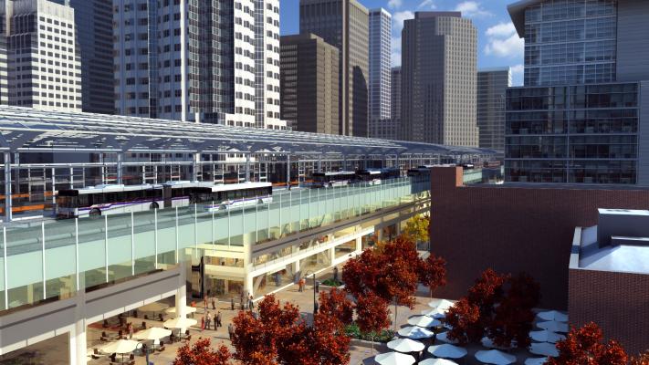 <p>Conceptual exterior view of San Francisco's Transbay Terminal.</p>