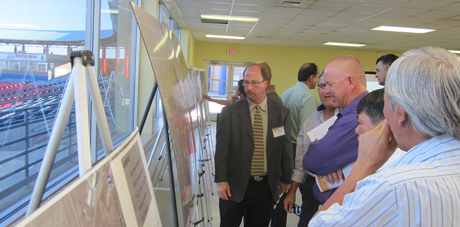 Karl Price, Caltrans Senior Environmental Planner, reviews the project area map with stakeholders.