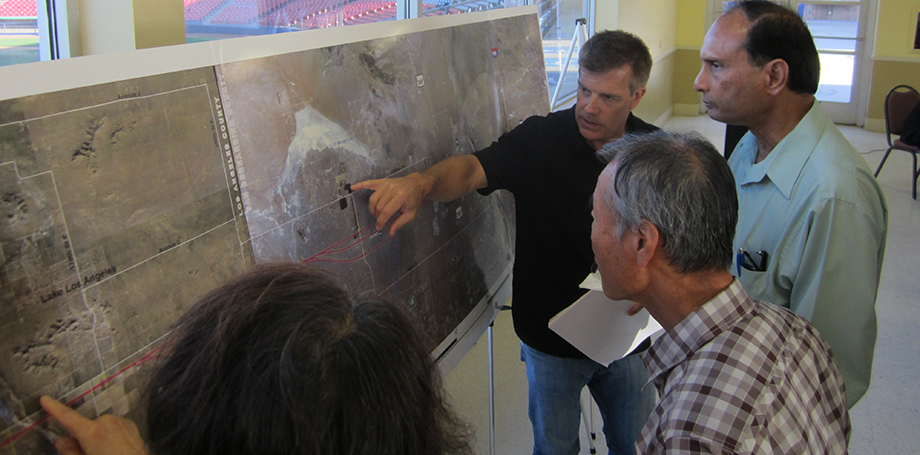 Community members review the proposed project alignment.