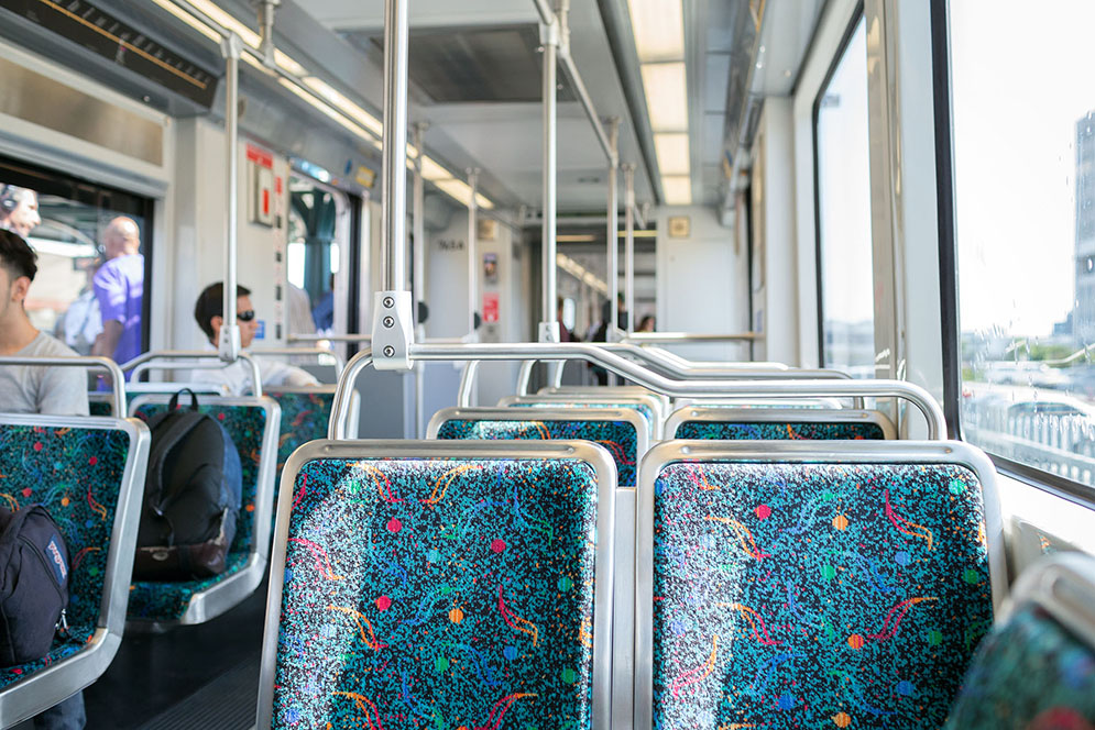 Metro light rail car interior