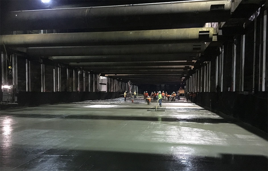 Pouring concrete at Wilshire-Fairfax (March 2019)
