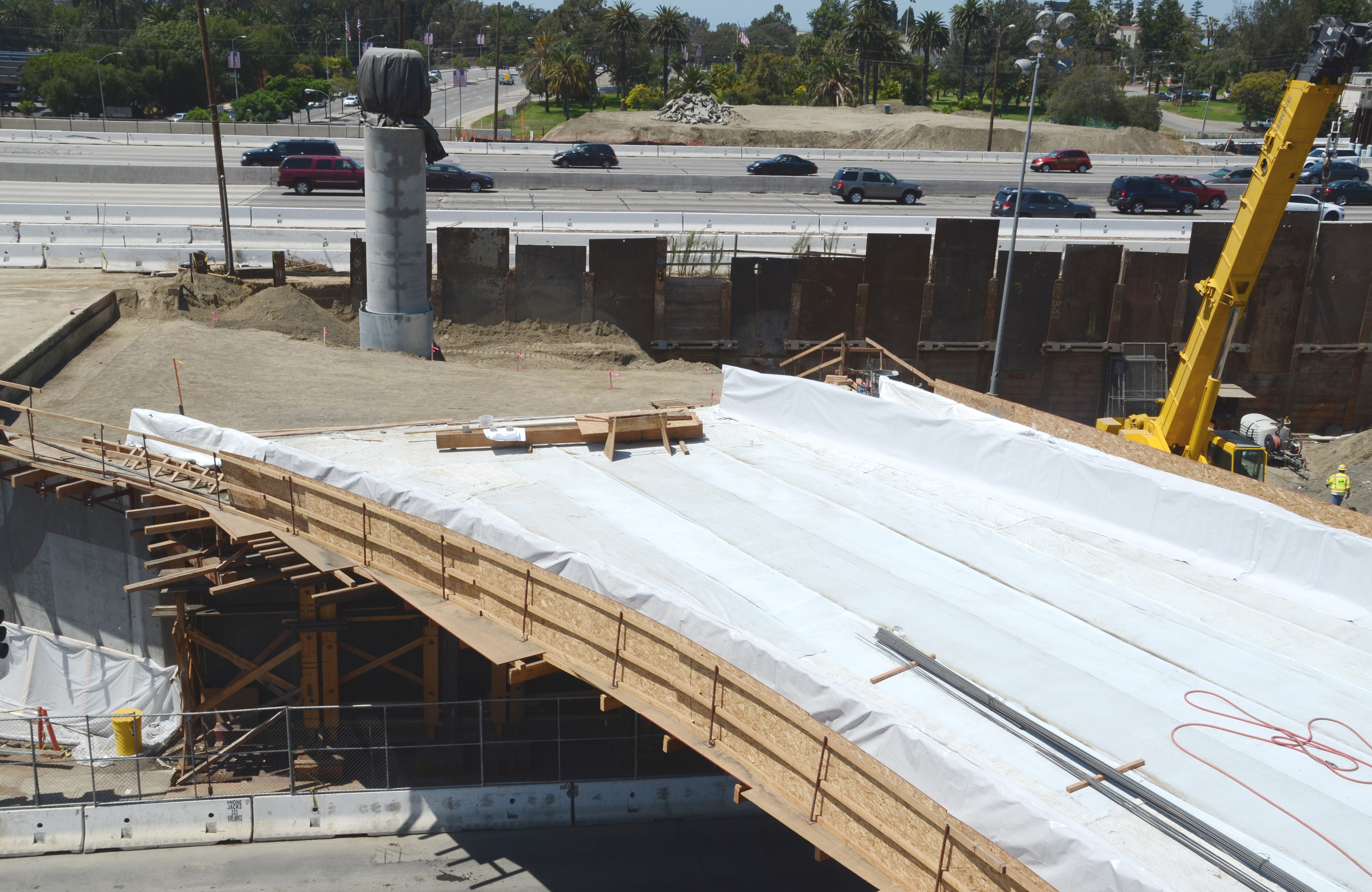 Looking west, this photo shows the bridge which will carry  the northbound I-405 traffic off to westbound Wilshire Bl.