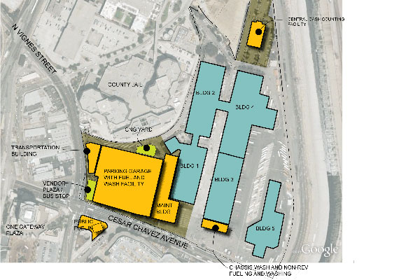 This vicinity plan shows the relationship of the existing buildings, shown in aqua, to the new additions, shown in orange.