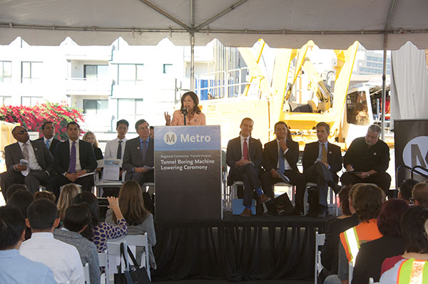 Student contest winners were honored by Metro and local elected officials at the Regional Connector TBM Milestone Lowering Ceremony held on October 19, 2016.