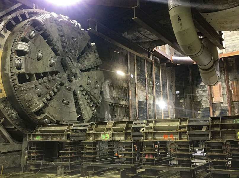 Tunnel boring machine breakthrough at Wilshire-Western (June 2019)