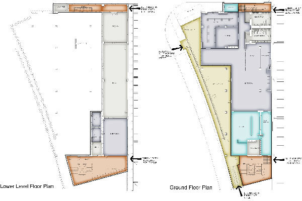 Lower and plaza level plans of Transportation Building. The driver's patio faces west along Vignes Street. Employees and visitors enter the building from the lower level of the parking garage or from Vignes Street