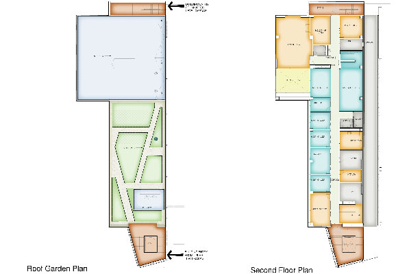 Second level floor plan of the Maintenance Building. This second level spaces are administrative and conferencing functions. The maintenance supervisory staff has access to a interior patio which overlooks the maintenance bays to the north and south.