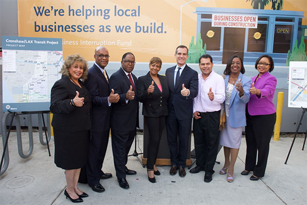 Pacific Coast Regional Vice President Angela Winston, Pacific Coast Regional President and CEO Mark Robertson, Metro Board Member and L.A. County Supervisor Mark Ridley-Thomas, BIF Grantee Marilyn Bro
