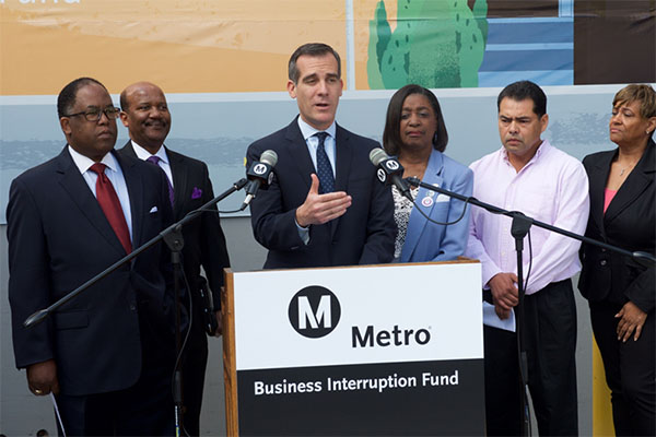 Metro Board Member and L.A. County Supervisor Mark Ridley-Thomas, Senior Minister, FAME Church of Los Angeles Pastor J. Edgar Boyd,  Metro Board Member and City of Los Angeles Mayor, Eric Garcett