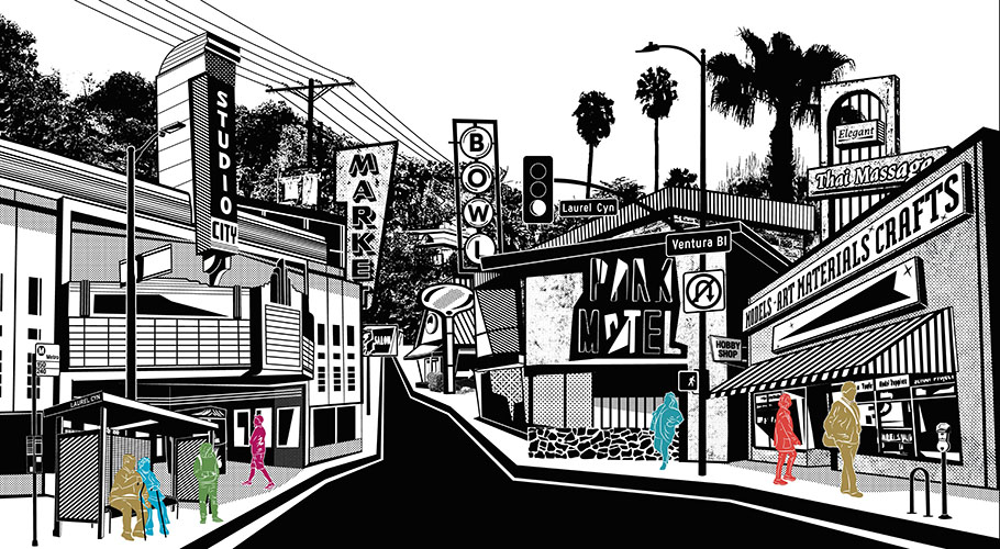 This dynamic street scene highlights the pedestrian's perspective in a mash-up of prominent architectural landmarks and signage found along the neighborhood's two main thoroughfares.