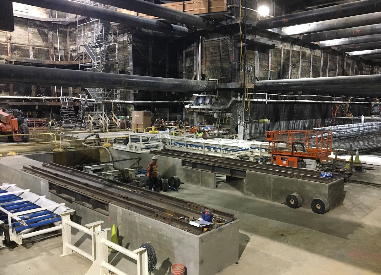 Installing conveyor system inside Wilshire/La Brea station to support tunneling excavation (April 2018)