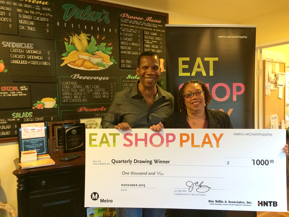 <p>Left: Owner, Dulan's on Crenshaw, Right: $1,000 Winner, Sharon Allen </p>