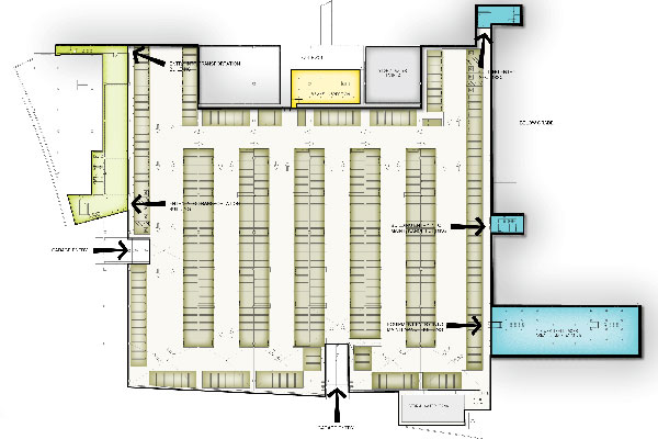Lower level floor plan of the garage. Employees and visitors can access the Transportation and Maintenance buildings at this level.