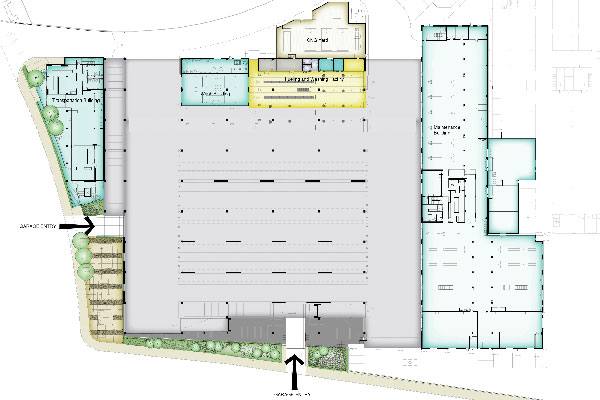 Ground level floor plan of the garage. This level includes the fueling and washing facility, maintenance bays, and the circulation ramp for access to the upper parking level.