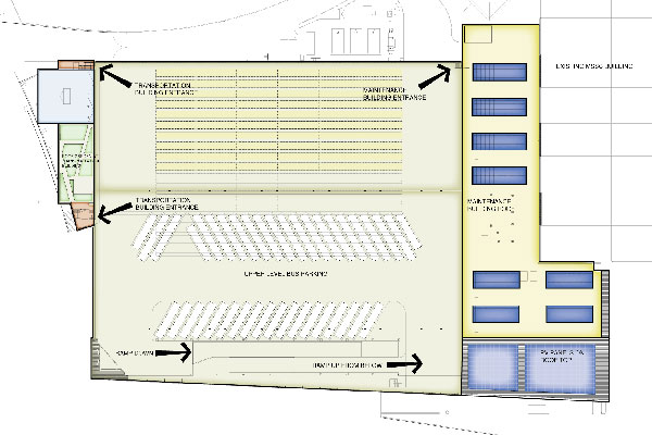 Upper level floor plan of the garage. This level is bus parking; employees can access the Transportation and Maintenance Buildings. The main circulation ramps are at the south side.
