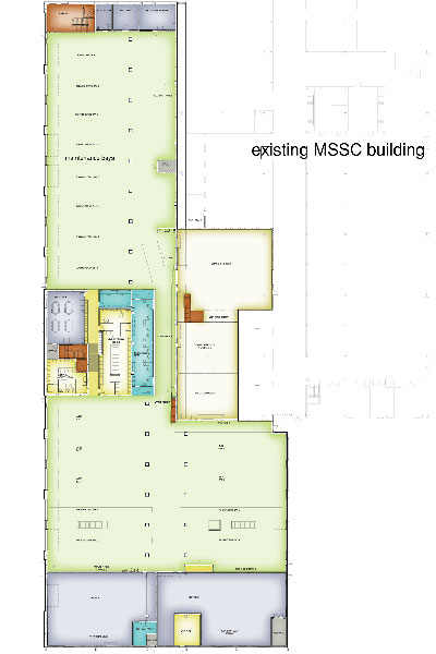 The ground level plan of the Maintenance Building. The majority of this space includes repair and preventive maintenance bays, in addition to the tire and body shops. The central core of this building serves maintenance staff and adminstrative functions.
