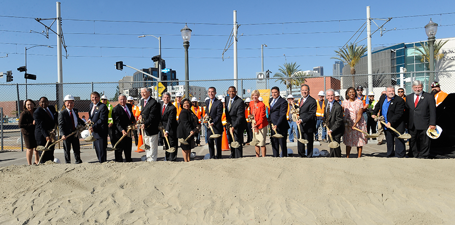 Metro and other elected officials celebrate the groundbreaking of the Regional Connector.